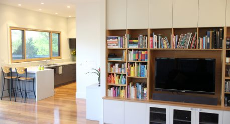 New kitchen and living room joinery: alterations to existing family residence, Alphington.