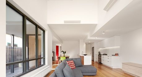 Open plan living, with generous volume and daylight