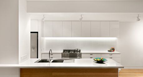 A simple clean palette of materials and colours for the kitchen