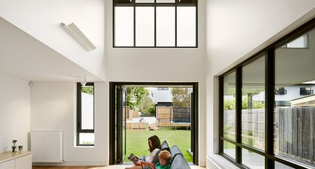 Double height space over living room