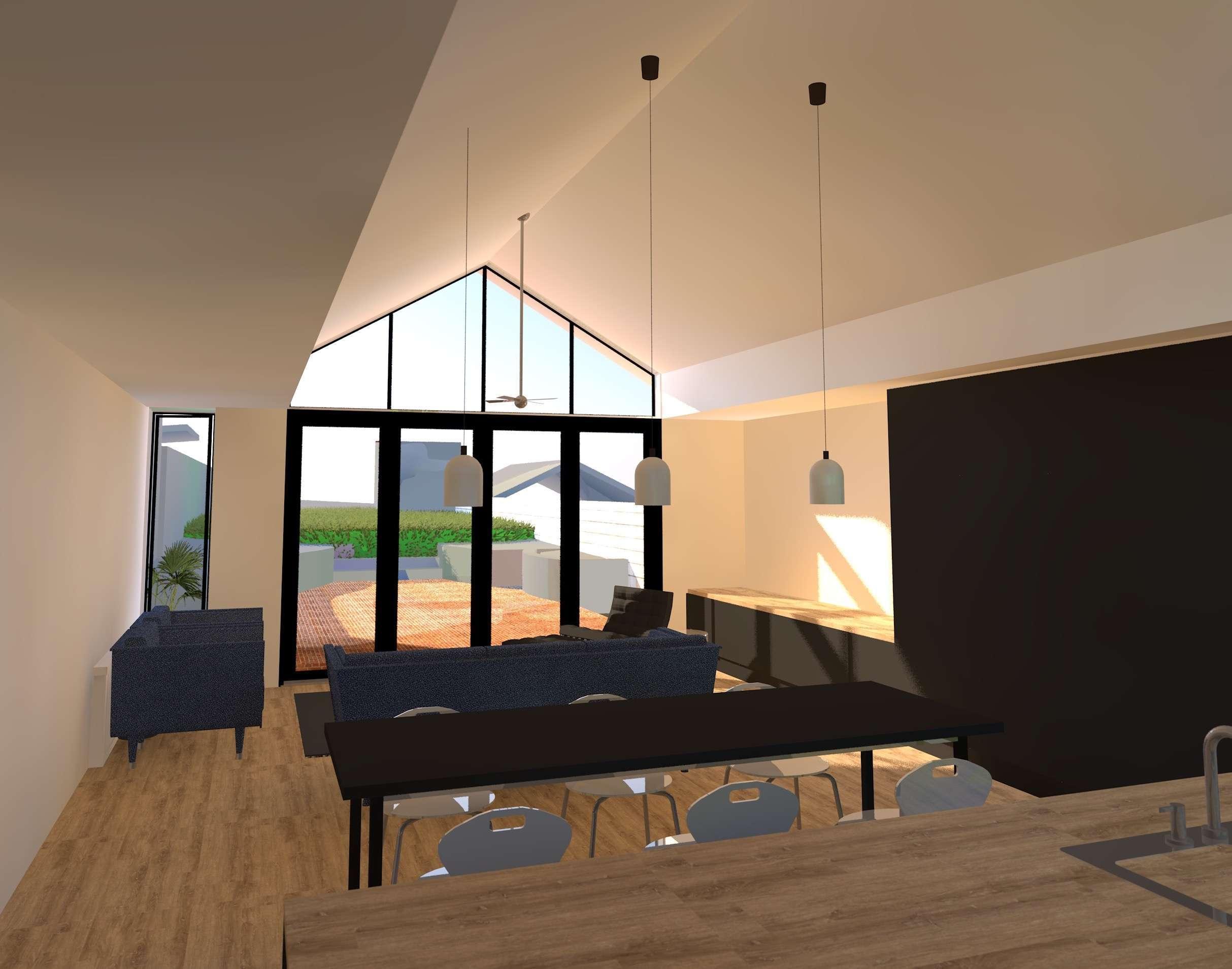 Raking ceiling dark joinery weatherboard cottage
